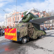 Truck with model of I-16 plane prepares for parade — Stock Photo #66222061