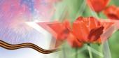 赤いチューリップと勝利の日カード — ストック写真