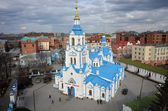 Aerial view on Znamensky Cathedral. Tyumen. Russia — Stock Photo
