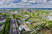 Aerial view on combined heat and power factory — Stock Photo
