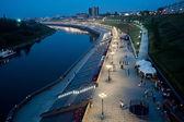 Pedestrian quay on Tura river in Tyumen — Stock Photo