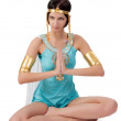 Ancient Egyptian woman - Cleopatra in zen position — Stock Photo #76425543