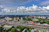 Aerial view onto railway station in Tyumen. Russia — Stock Photo