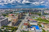 Construction of residential district in Tyumen — Stock Photo