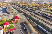 Aerial view onto railway station. Tyumen. Russia — Stock Photo