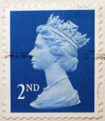 English Used Second Class Postage Stamp showing Portrait of Queen Elizabeth 2nd, circa 2010 — Stock Photo