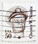 Stamp printed in the United States shows image of Chester W. Nimitz, former Admiral of the US Navy, series, circa 1985 — Stock Photo
