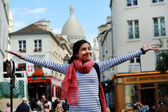 Beautiful student girl in the Paris city — Stockfoto