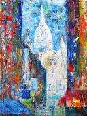 Rue de Montmartre à paris, france, peint en acrylique — Photo