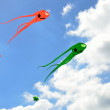 Orange and green space invader kites — Stock Photo #52728139