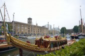 Royal barge in st Katherines dock — Stock Photo