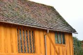 End of orange half timbered house — Stock Photo