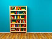 Bookcase blue wall — Stock Photo