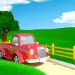 Red old truck with farm field — Stock Photo #76480371