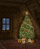 Christmas in a wooden cottage — Foto Stock