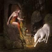 Elf and unicorn — Stock Photo