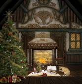 Christmas in  old cottage — Foto Stock