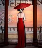 Woman Looking far away — Stock Photo