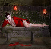 Geisha relaxes in secret place — Stock Photo
