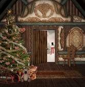 Christmas in old cottage — Stockfoto