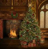 Christmas tree in cottage — Photo