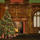 Vintage christmas room — Stock Photo