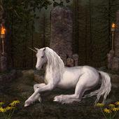 Beautiful unicorn in a glade — Stock Photo