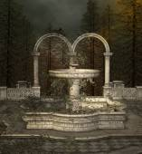Ancient fountain in park — Stock Photo