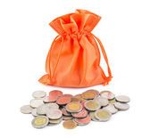 Money coins and paper bag — Stock Photo