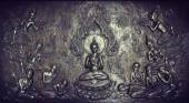 Metal sculpture of buddha story — Stock Photo