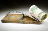 Dollar banknote in mousetrap — Photo