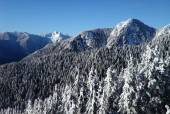 Lions peaks from Grouse Mountain Vancouver — Stock fotografie