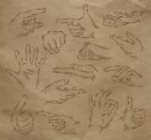 Painted hands kraft — Stock Vector