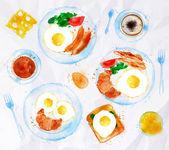 Breakfasts set eggs watercolor — Stock Vector