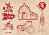 Farm vintage red — Stockvector