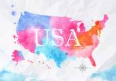 Watercolor map United States pink blue — Stock Vector