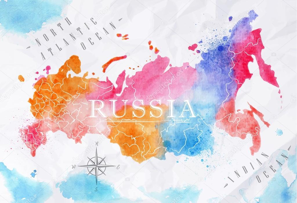 俄罗斯在矢量格式的背景弄皱的纸上的粉红色和蓝色颜色的水彩地图—