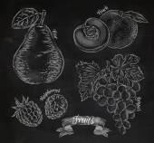 Fruit pear, peach, raspberry, grape chalk — Stock Vector