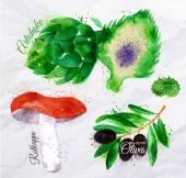 Vegetables watercolor rotkappe, artichokes, black olives — Stock Vector
