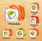 Sushi watercolor Rolls in kraft — Stock Vector