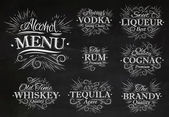Set alcohol menu chalk — Stock Vector