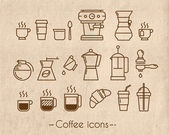 Coffee icons with craft — Stock Vector