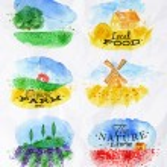 Watercolor landscapes symbols — Stock Vector #62387771
