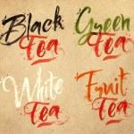 Lettering tea drops kraft — Stock Vector #70098793