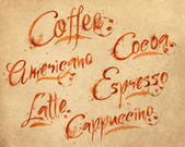 Lettering coffee drops kraft — Stock Vector