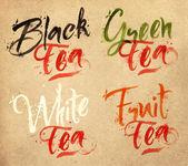 Lettering tea drops kraft — Stock Vector
