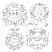 Fruits Vegetables Monograms — Stock Vector