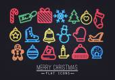 Christmas flat icons neon — Stock Vector