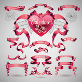 Vector set of valentines day banners — Stock Vector