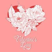 Valentines day design with rose — Stok Vektör